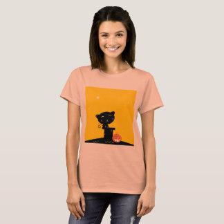 Camiseta T-shirt do vintage com gato preto