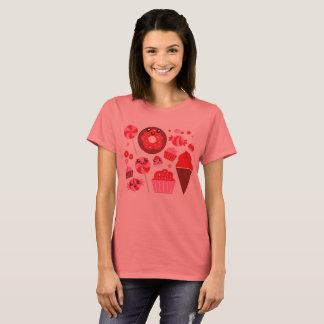 Camiseta T-shirt do vintage das senhoras com rosquinhas