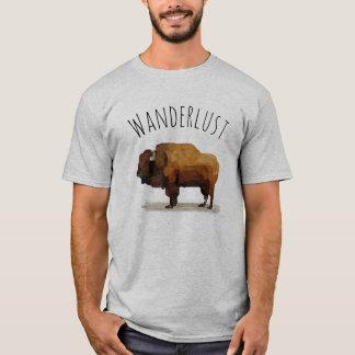 Camiseta T-shirt do WANDERLUST: Búfalo americano (bisonte)