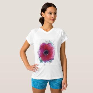 Camiseta T-shirt Dobro-Seco #1 do V-Pescoço das mulheres da