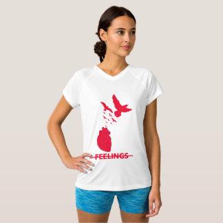 Camiseta T-shirt Dobro-Seco do V-Pescoço dos sentimentos do