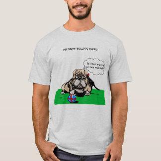Camiseta T-shirt dos azuis do buldogue do aniversário