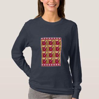 Camiseta T-shirt dos corações & das mãos de ILY multi