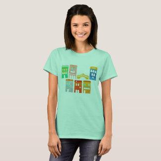Camiseta T-shirt dos desenhistas das meninas ciano com