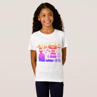 Camiseta T-shirt dos desenhistas das meninas com ícones do