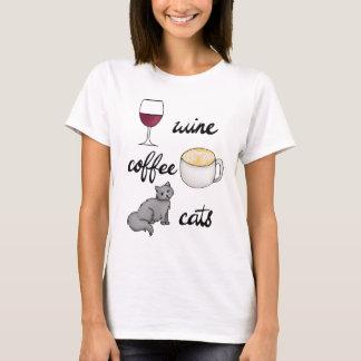 Camiseta T-shirt dos gatos do café do vinho