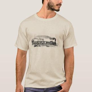 Camiseta T-shirt dos homens do esboço do trem do vapor do