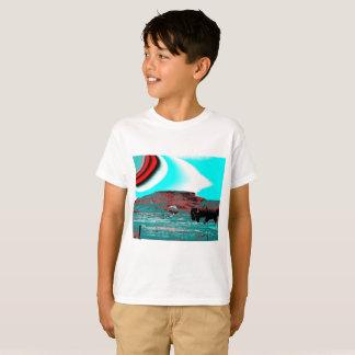 Camiseta T-shirt dos meninos com impressão colorido do