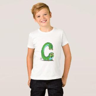 """Camiseta T-shirt dos miúdos com caráter do monstro de """"C"""""""