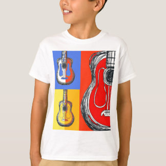 Camiseta T-shirt dos miúdos das guitarra de Colorblock