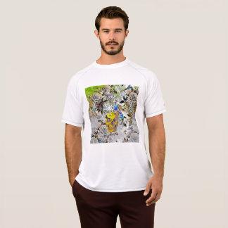 Camiseta T-shirt dourado do crânio dos homens