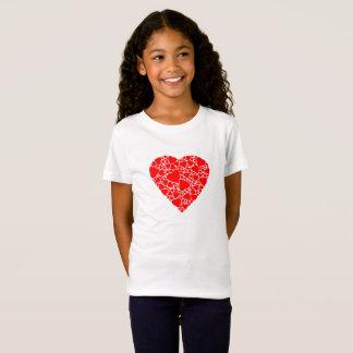 Camiseta T-shirt em jersey fino, Branco com coração