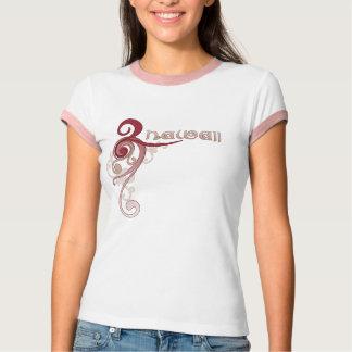 Camiseta T-shirt encaracolado cor-de-rosa da campainha de