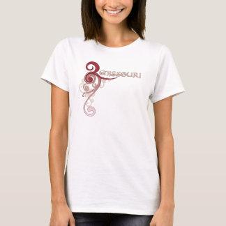 Camiseta T-shirt encaracolado cor-de-rosa de Missouri do