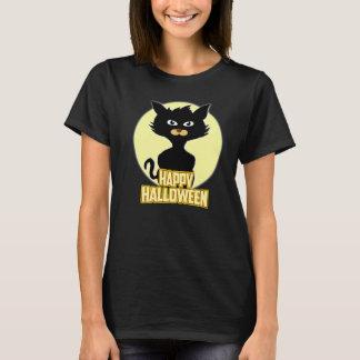 Camiseta T-shirt engraçado assustador feliz do gato preto