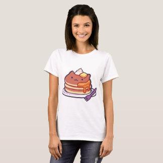 Camiseta T-shirt engraçado das panquecas do gato