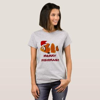 "Camiseta ""T-shirt engraçado de Fishmas alegre"" dos peixes"