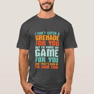 Camiseta T-shirt engraçado do amor do Gamer eu pauso meu