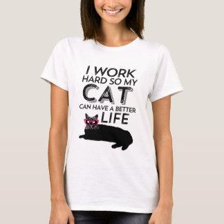 Camiseta T-shirt engraçado do gato do vintage para o amante
