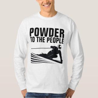 Camiseta T-shirt engraçados do esqui da neve, PÓ às PESSOAS