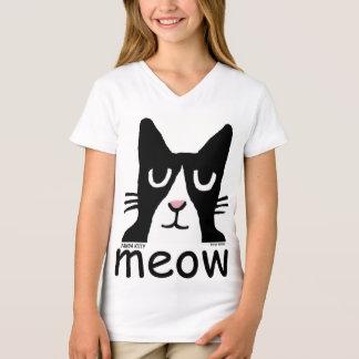 Camiseta T-shirt engraçados do gato para miúdos, gatinho da