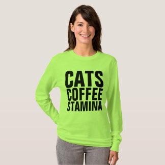 Camiseta T-shirt engraçados do gato, VIGOR do CAFÉ dos