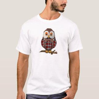 Camiseta T-shirt escoceses da coruja do Tartan