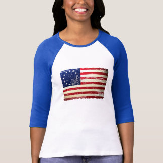 Camiseta T-shirt esfarrapado vintage da bandeira americana