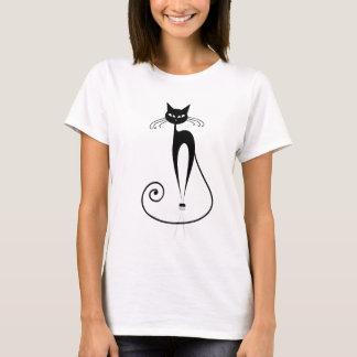 Camiseta T-shirt estilizado preto do gato
