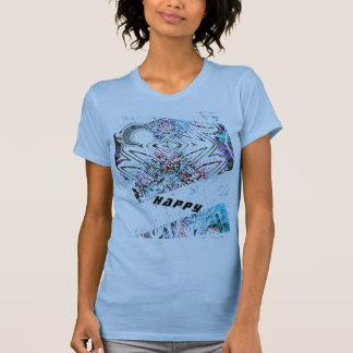 Camiseta T-shirt FELIZ da arte uma lua e uns padrões