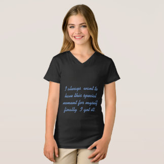 Camiseta t-shirt fino do v-pescoço do jérsei da menina
