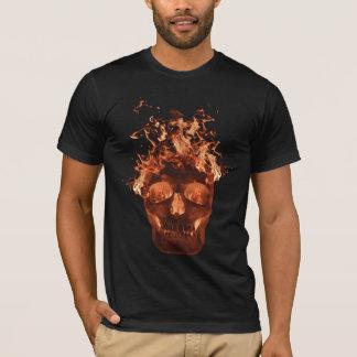 Camiseta T-shirt flamejante alaranjado do crânio