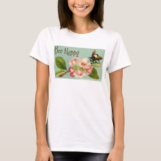Camiseta T-shirt floral do vintage feliz da abelha das