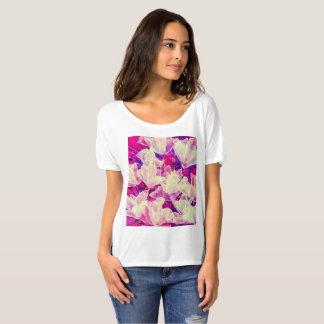 Camiseta T-shirt floral roxo & branco abstrato