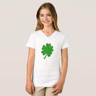 Camiseta T-shirt grande da menina do trevo de cinco folhas