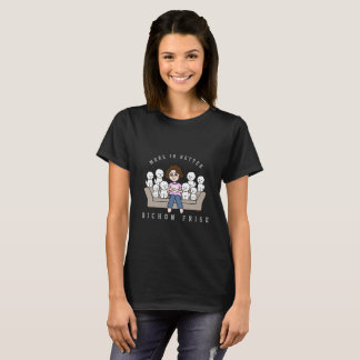 Camiseta T-shirt ilustrado de Bichon Frise mamã louca