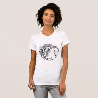 Camiseta T-shirt impresso rosa do abstrato das mulheres