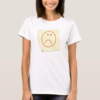 Camiseta T-shirt infeliz da nota de post-it da cara
