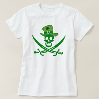 Camiseta T-shirt irlandês da bandeira do crânio do pirata