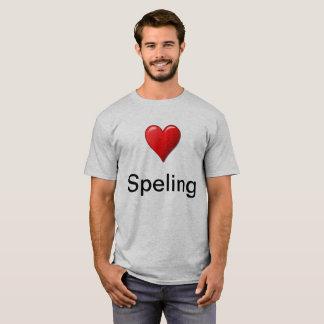 Camiseta T-shirt irónico de soletração do amor
