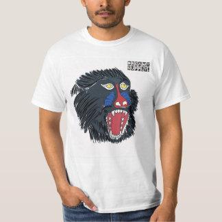 Camiseta T-shirt irritado do branco do macaco de