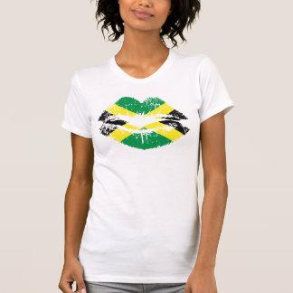 Camiseta T-shirt jamaicano para senhoras. Luva curta branca
