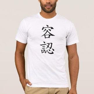 Camiseta T-shirt japonês do Kanji da aceitação