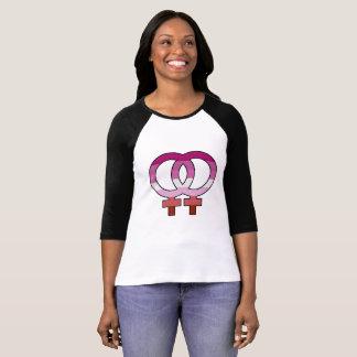 Camiseta T-shirt lésbica do basebol do símbolo de Venus da