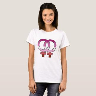 Camiseta T-shirt lésbica do símbolo de Venus da bandeira do