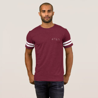 Camiseta t-shirt listrado do braço de 4TEN Borgonha