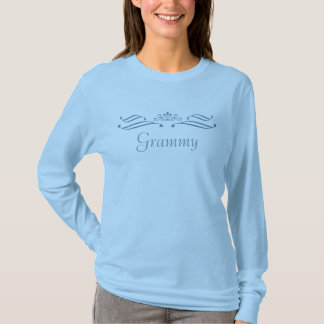 Camiseta T-shirt longo azul da luva do rolo da tiara de