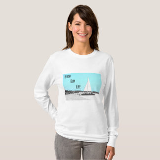 Camiseta T-shirt longo básico da luva da vida do vagabundo