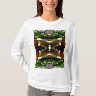 Camiseta T-shirt longo básico da luva das mulheres