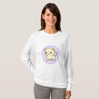 Camiseta T-shirt longo básico da luva das mulheres bonitos